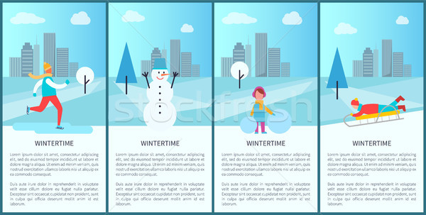 Wintertime Park Set of Posters Vector Illustration Stock photo © robuart