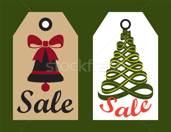 Sale Advertisement Ready to Use Hang Labels Trees Stock photo © robuart