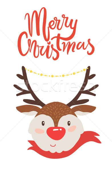 Merry Christmas Banner Congratulation from Deer Stock photo © robuart