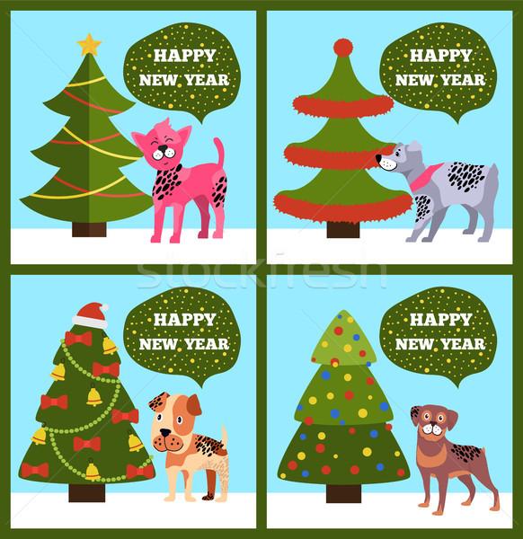 Buon anno punteggiata cucciolo albero set Foto d'archivio © robuart