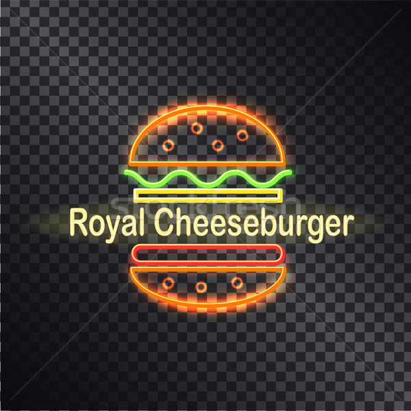 Néon icône royal cheeseburger coloré bannière Photo stock © robuart