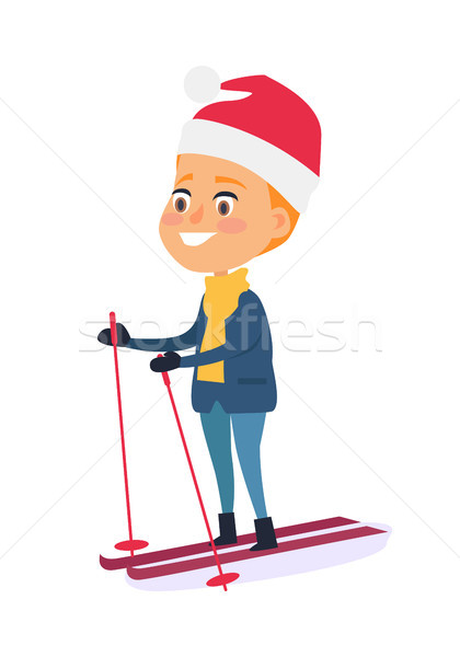 Isolated Smiling Boy Skiing on White Background Stock photo © robuart