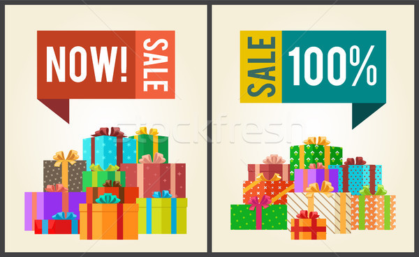 Now Sale Save 100 Push Buttons Promo Labels Boxes Stock photo © robuart