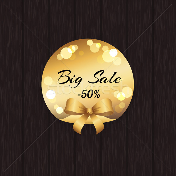 Big Sale -50 Off Golden Label with Round Elements Stock photo © robuart