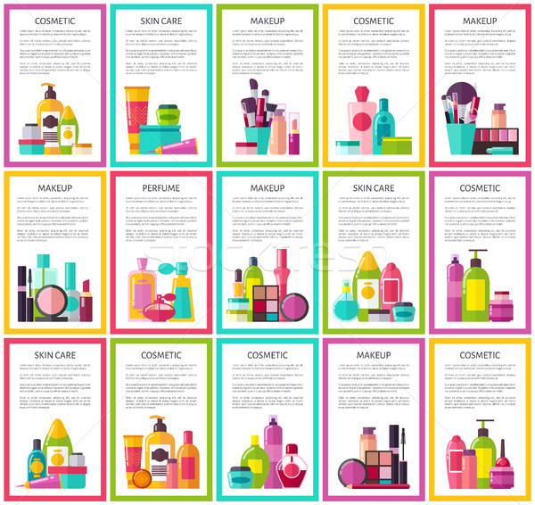 Cosmetic Skin Care Makeup Perfume Colorful Banners Stock photo © robuart