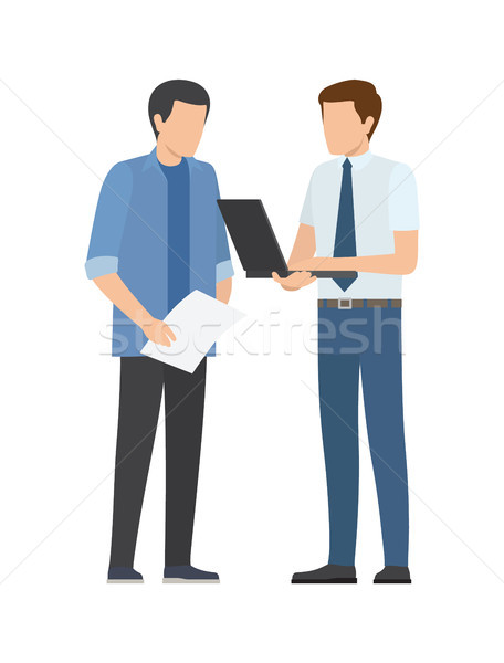 Two Men Discusses Business Plan Businessmen Vector Stock photo © robuart