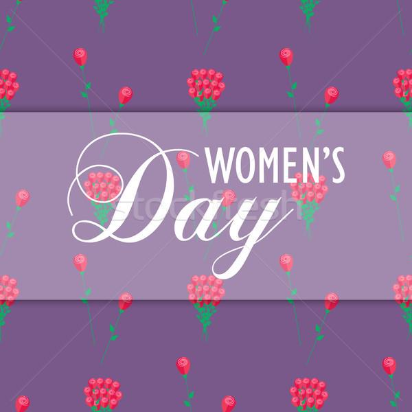 Festa della donna carta da imballaggio design fiori rossi texture Foto d'archivio © robuart
