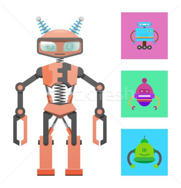 Humanoid robot építkezés minta szín szalag Stock fotó © robuart
