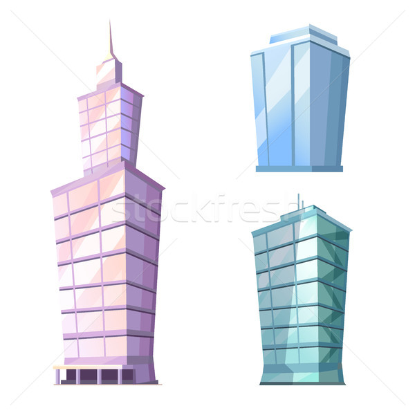 Skyscraper Glass Building Isolated on White Vector Stock photo © robuart