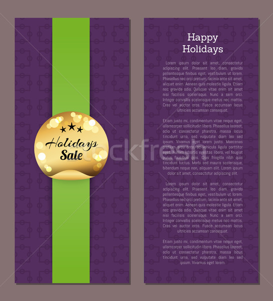 Happy Holidays Sale Gold Sticker Round Label Cover Stock photo © robuart