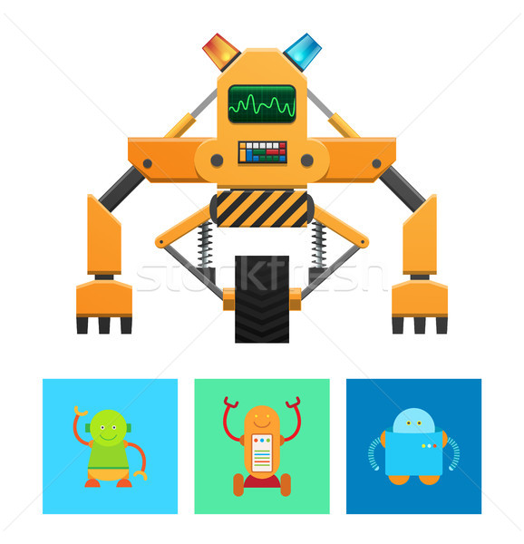 Cyborg machine Geel lichaam vector banner Stockfoto © robuart