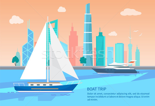 Boat Trip Advertisement Poster Sails Boats Vector Stock photo © robuart