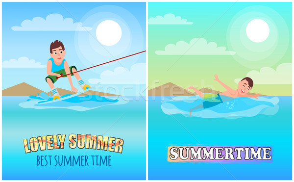 Best Lovely Summer Time, Color Vector Illustration Stock photo © robuart