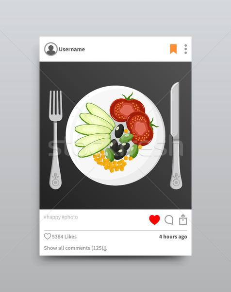 App plaque photo tomate concombre olive Photo stock © robuart