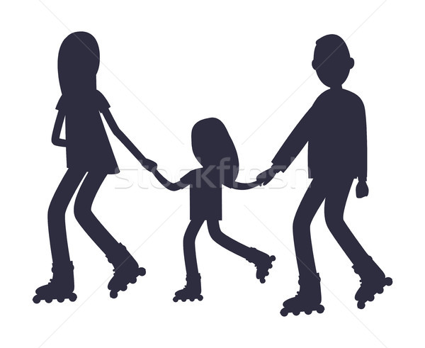 Family Roller Skating Together Silhouettes Vector Stock photo © robuart