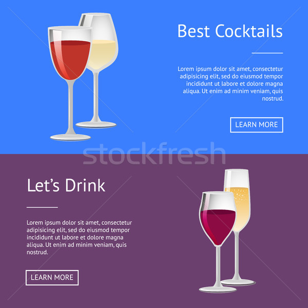 Best Cocktails Lets Drink Red Wine and Champagne Stock photo © robuart
