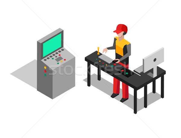Factory and Operator at Work Vector Illustration Stock photo © robuart