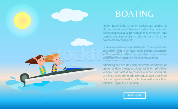 Boating Web Poster Activity in Summer, Girls Fun Stock photo © robuart