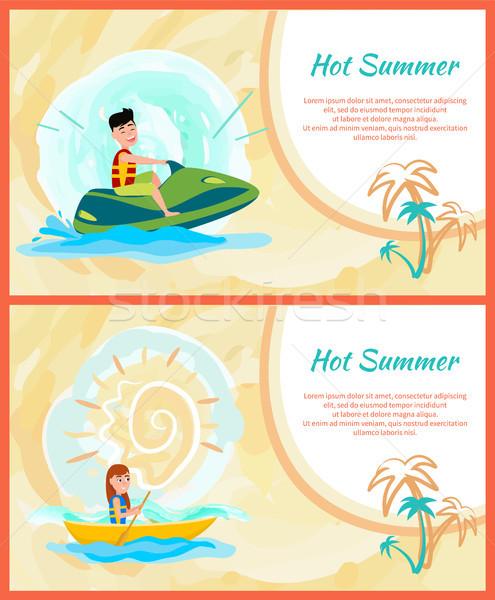 Hot zomer tekst monster ingesteld posters Stockfoto © robuart
