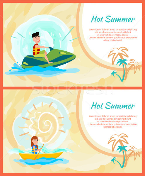 Hot Summer Text Sample Set Vector Illustration Stock photo © robuart