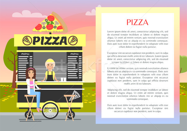 Pizza Mobile Stand in Cute Summer Park Banner Stock photo © robuart