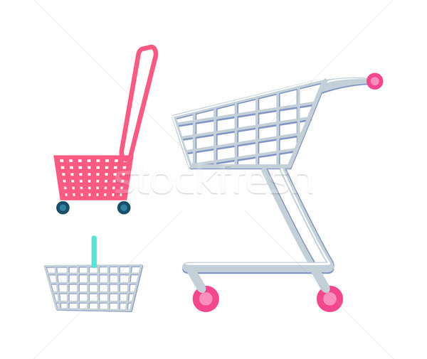 Shopping Carts and Baskets Vector Illustration Stock photo © robuart