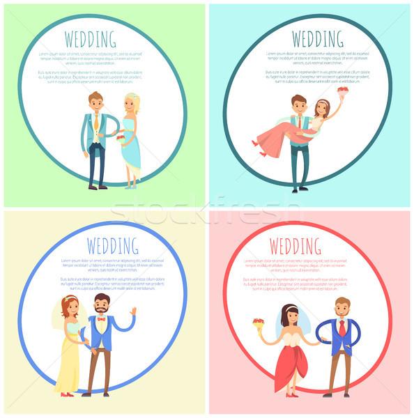 Yeni evliler düğün suit ayarlamak mutlu Stok fotoğraf © robuart