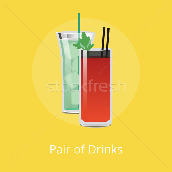 Pair of Drinks Green Cocktail Ice Cube Bloody Mary Stock photo © robuart