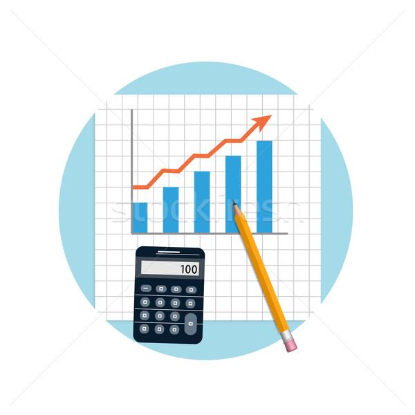 Könyvelés pénzügyi tervezés számológép ceruza terv stílus Stock fotó © robuart