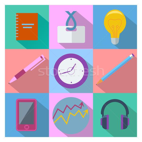 Conjunto negócio equipamentos de escritório colorido praça Foto stock © robuart