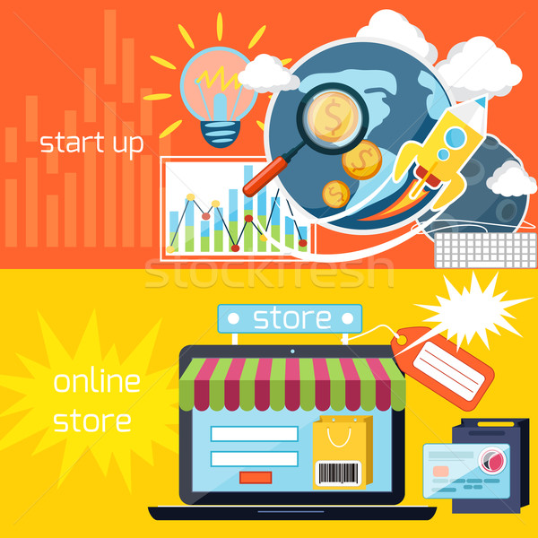 Start up and online store icons Stock photo © robuart