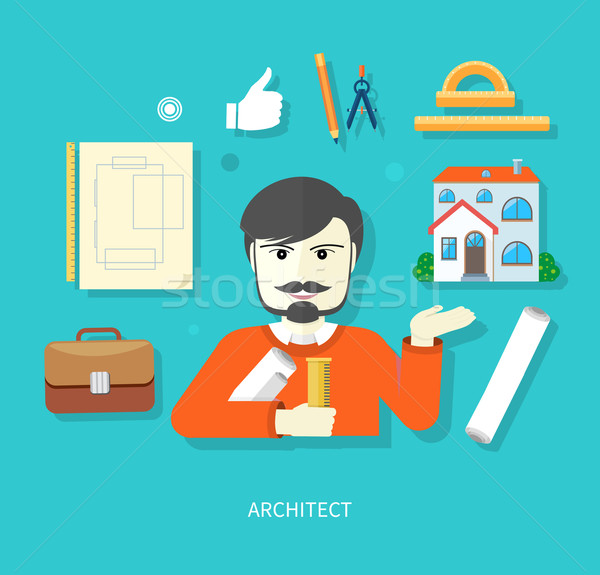 Chief architect with compasses and blueprint Stock photo © robuart