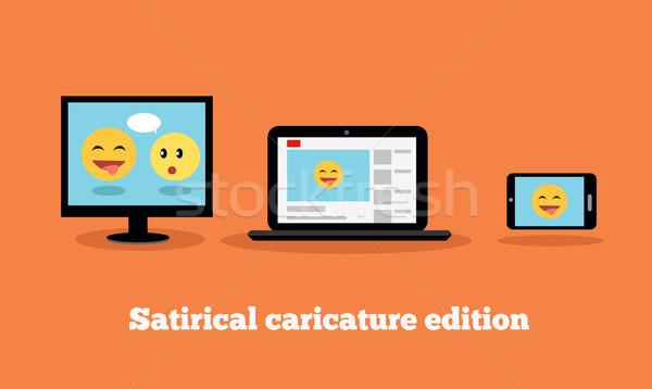 Satirical Caricature Edition Design Flat Stock photo © robuart