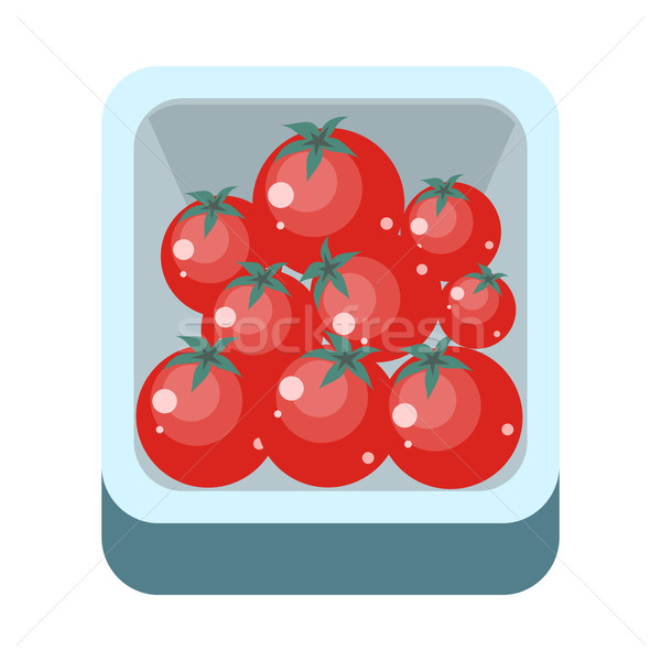 Tomatoes in Tray Flat Design Illustration.   Stock photo © robuart