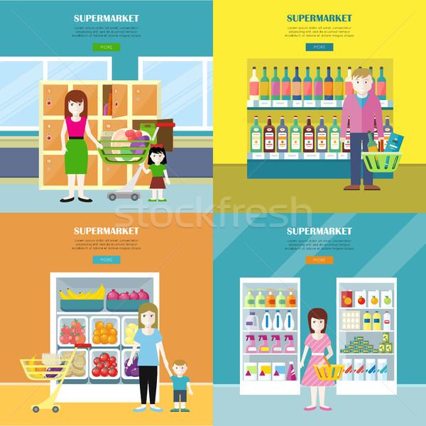 Сток-фото: набор · супермаркета · Баннеры · дизайна · веб · женщины
