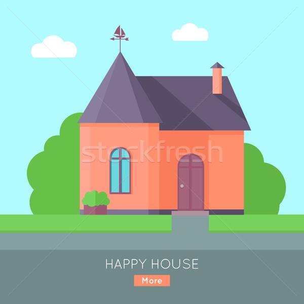 Heureux maison rouge pourpre toit maison Photo stock © robuart