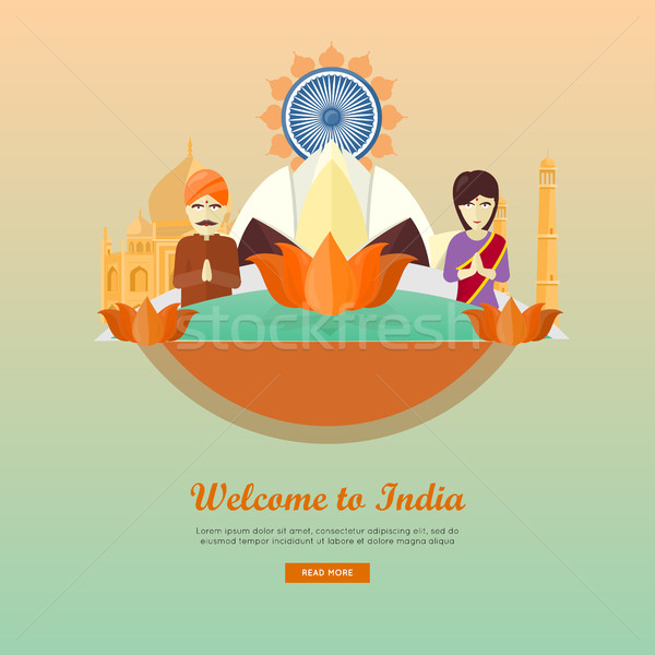 Welcome to India Flat Style Vector Web Banner Stock photo © robuart