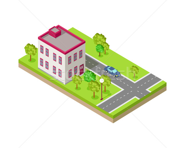 Isometric Icon of Two Storey House Near Road Stock photo © robuart