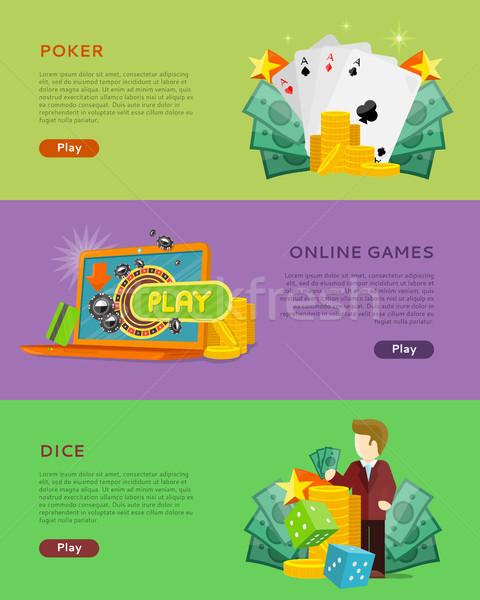 Zestaw hazardu wektora banery projektu stylu Zdjęcia stock © robuart