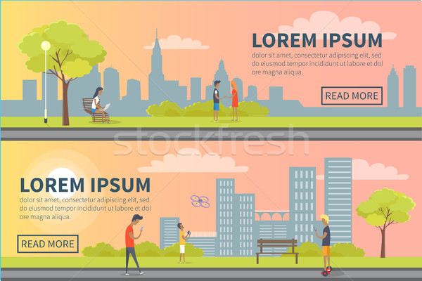 People Spending Time in Urban Park Vector Poster Stock photo © robuart