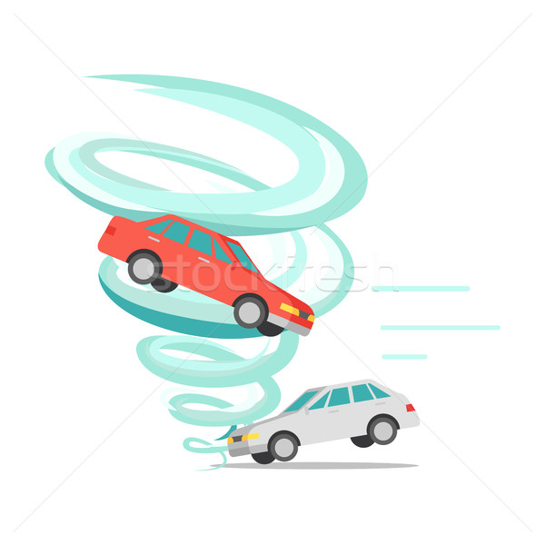 Tornado Twisted Car, Ruined Everything. Vector Stock photo © robuart