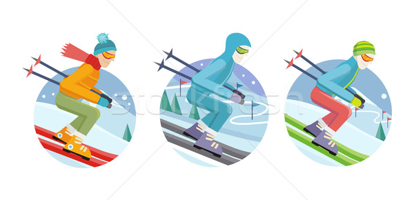 Stock photo: Set of Skier Man Vector Icons in Flat Design