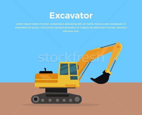 Excavadora banner diseno vector ciudad edificio Foto stock © robuart