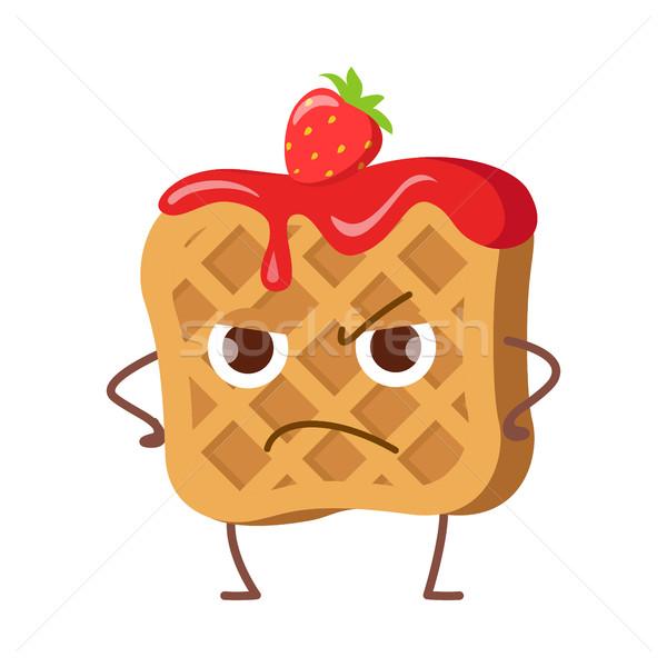 Zaklatott waffle lekvár eper izolált vicces Stock fotó © robuart