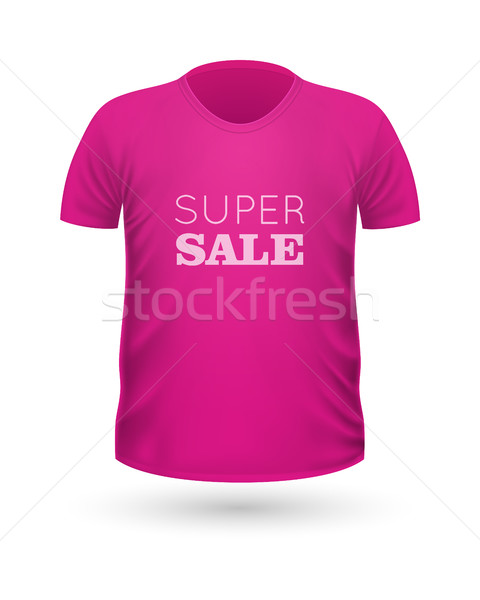 Super Sale Pink T-Shirt Isolated on White. Vector Stock photo © robuart