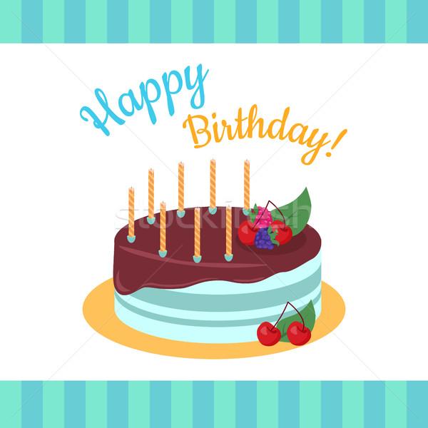 Mutlu yıllar kek çilek yalıtılmış çikolata doğum günü Stok fotoğraf © robuart
