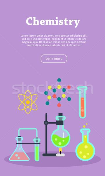 Kimya web afiş web sitesi şablon laboratuvar Stok fotoğraf © robuart