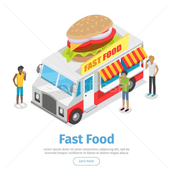 Street Fast Food Isometric Vector Web Banner Stock photo © robuart