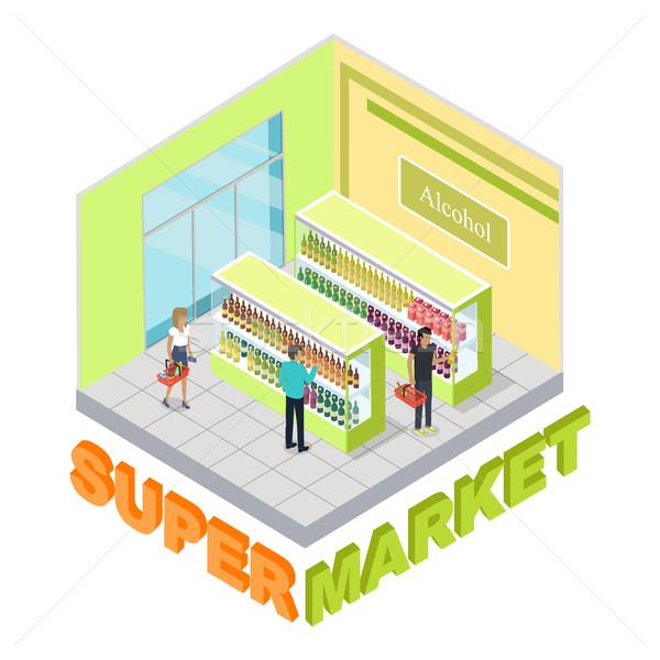 супермаркета алкоголя отдел люди внутри магазин Сток-фото © robuart