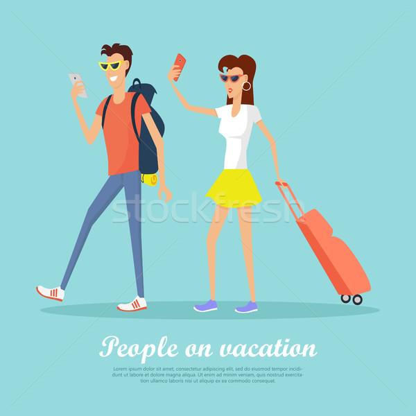 люди отпуск мобильных баннер пару Сток-фото © robuart